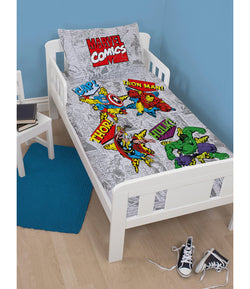MARVEL COMICS Avengers - Toddler Bed/Cot Quilt Cover Set