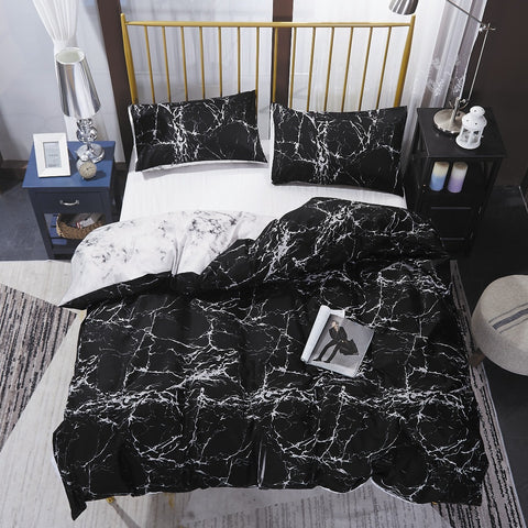 Black Marble Quilt Cover Set