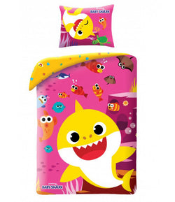 Baby Shark PINK Single Quilt Cover Set EURO CASE