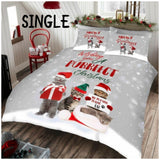 PRE ORDER Christmas Purrfect SINGLE Quilt Cover Set