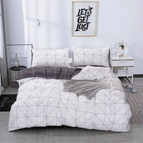 White Geometric Quilt Cover Set
