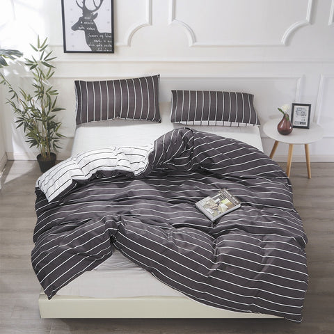 Grey White Stripe Quilt Cover Set KING