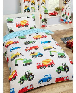 PRE ORDER Trucks & Transport Single Quilt Cover Set