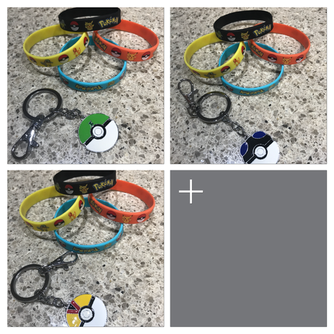 Pokemon keyring and silicone bands