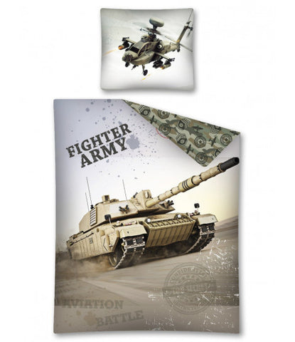 Army Fighter Tank Glow In The Dark Single Quilt Cover Set EURO CASE