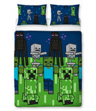 MINECRAFT CREEPS Double to Queen Quilt Cover Set - POLYESTER