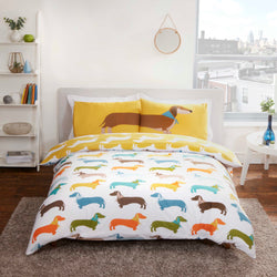 PRE ORDER SAUSAGE DOG Double to queen Quilt Cover Set