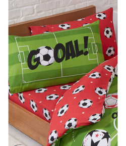 SOCCER Red Single fitted sheet & Pillowcase