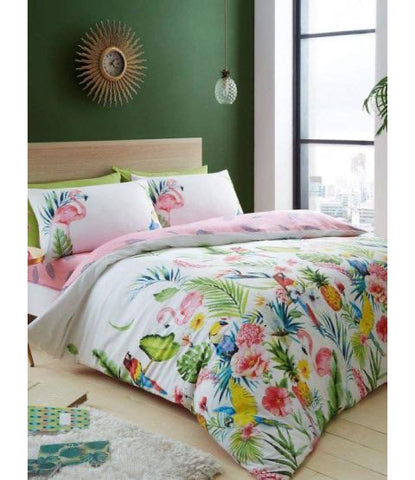 Tropical Rainforest Flower Flamingo King Size Quilt Cover Set