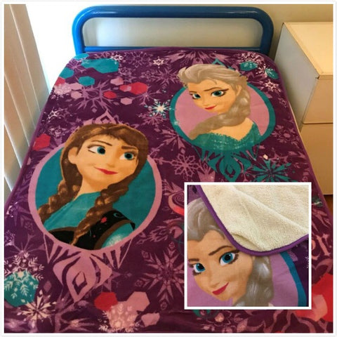 Frozen Throw Size Faux Mink Blanket Wool lined