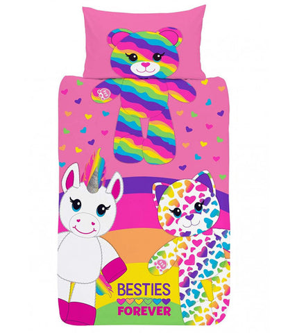 WASHED PILLOW CASE Build A Bear Besties Forever Single Quilt Cover Set