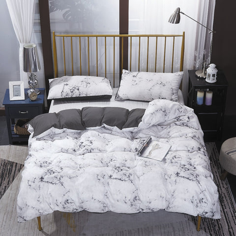 White Grey Marble Quilt Cover Set