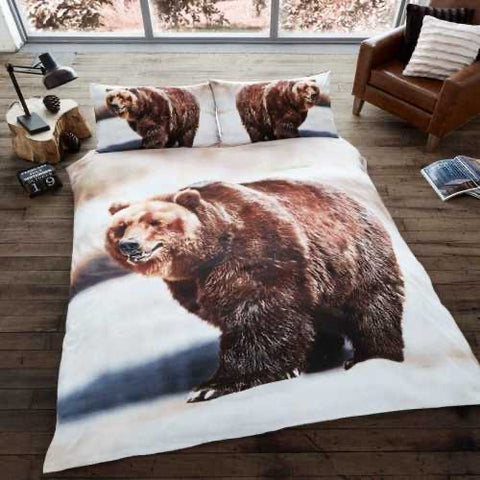 Brown Bear King Size Quilt Cover Set