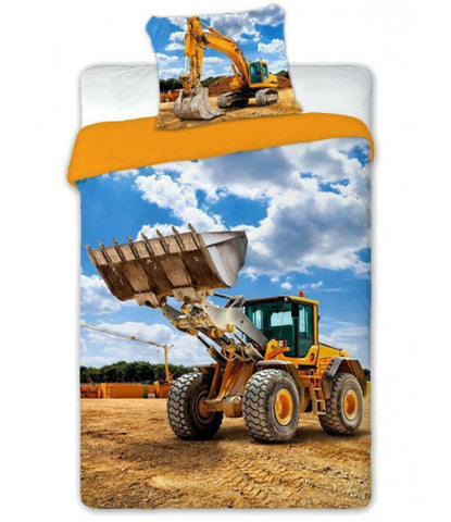 Digger Truck Single Quilt Cover Set EURO Case
