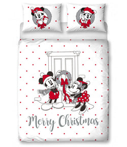 PRE ORDER Minnie & Mickey Mouse Christmas Double to Queen Quilt Cover Set