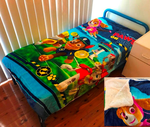 Paw Patrol Single-King Single  Faux Mink Blanket wool lined