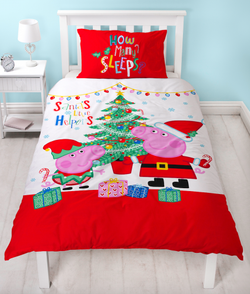 PRE ORDER Peppa Christmas Single Quilt Cover Set