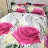 PRE ORDER Queen Quilt Cover Set— Rose White 4pce