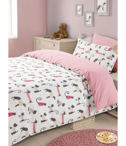 Cat and Dog Single Quilt Cover Set