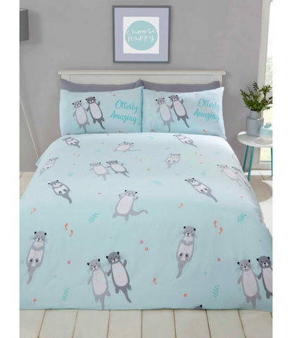 OTTERLY AMAZING OTTERS Blue Single Quilt Cover Set