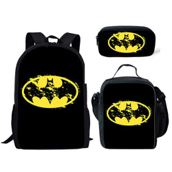 Batman Symbol 3 Piece Backpack Set (Cooler bag, Pencil Case)