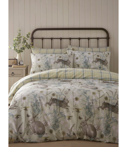 Rabbit Meadow Sage Double to Queen Quilt Cover Set