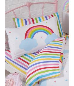 Rainbow Sky Striped Single fitted sheet & Pillowcase