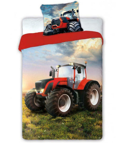 Red Tractor Truck Single Quilt Cover Set EURO Case