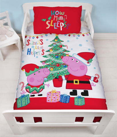 PRE ORDER Peppa toddler cot Christmas Quilt Cover Set