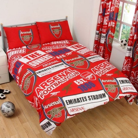 "Arsenal FC Patch ""Reversible"" Football Double to Queen Quilt Cover Set"
