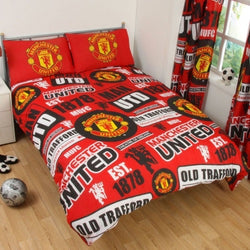 "Manchester United FC Patch ""Reversible"" Football Double to Queen Quilt Cover Set"