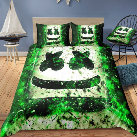 Fortnite Quilt Cover Set Marshmello Green