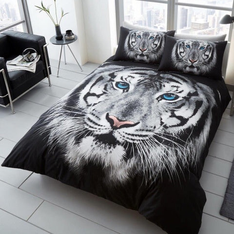 White Tiger King Size Quilt Cover Set
