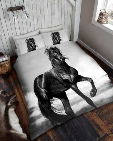 Black Horse Single Size Quilt Cover Set
