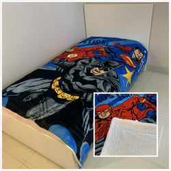 Justice League Batman Superman -King Single  Faux Mink Blanket wool lined
