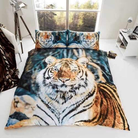 Orange Tiger Double to Queen Quilt Cover Set