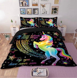 MORE COMING OCTOBER Unicorn Black Quilt Cover Set