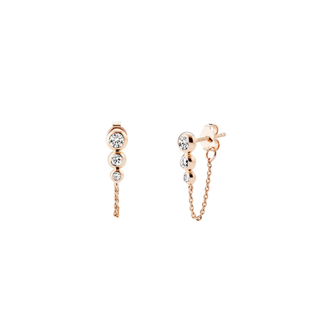 STELLAR Tri-Star Drop Chain Earrings