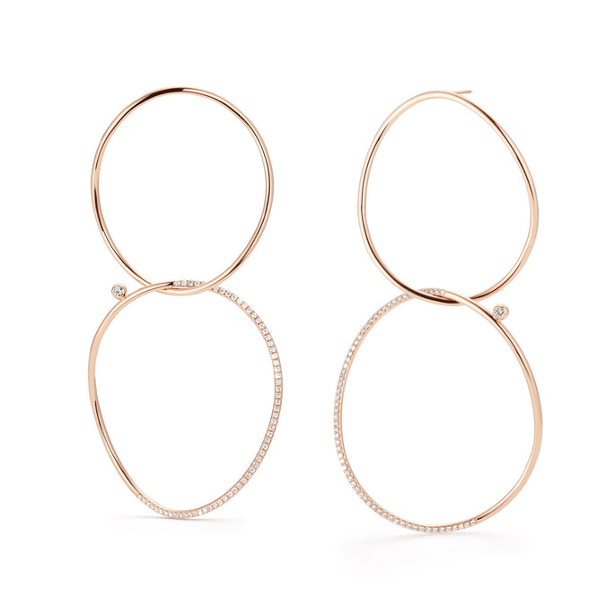 WHISPER Large Pavé Double Hoop Earrings
