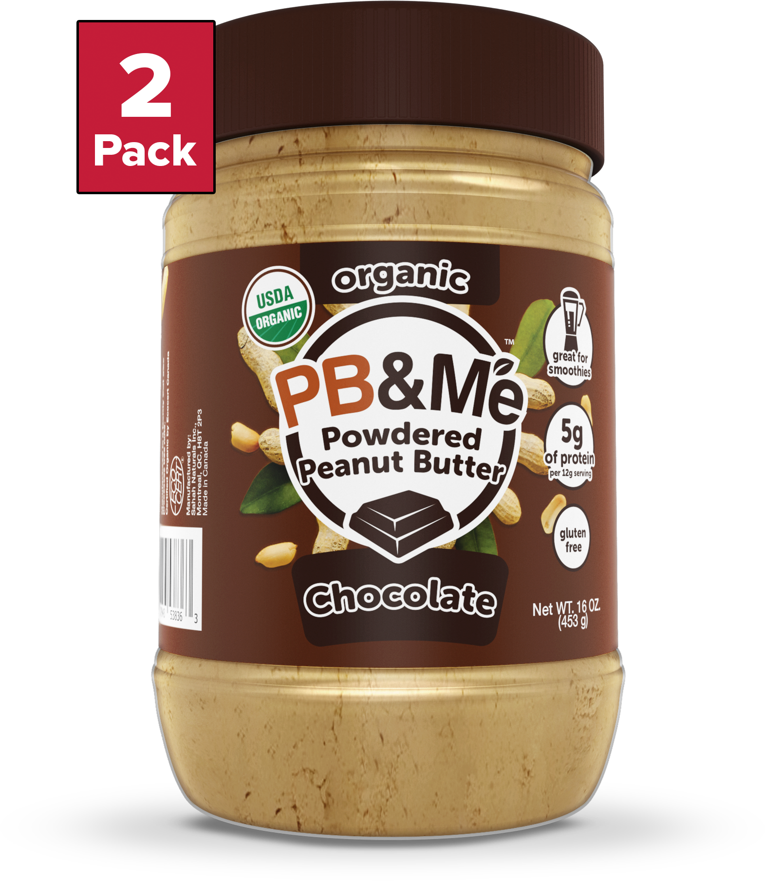 Organic Powdered Peanut Butter, Chocolate (16oz)