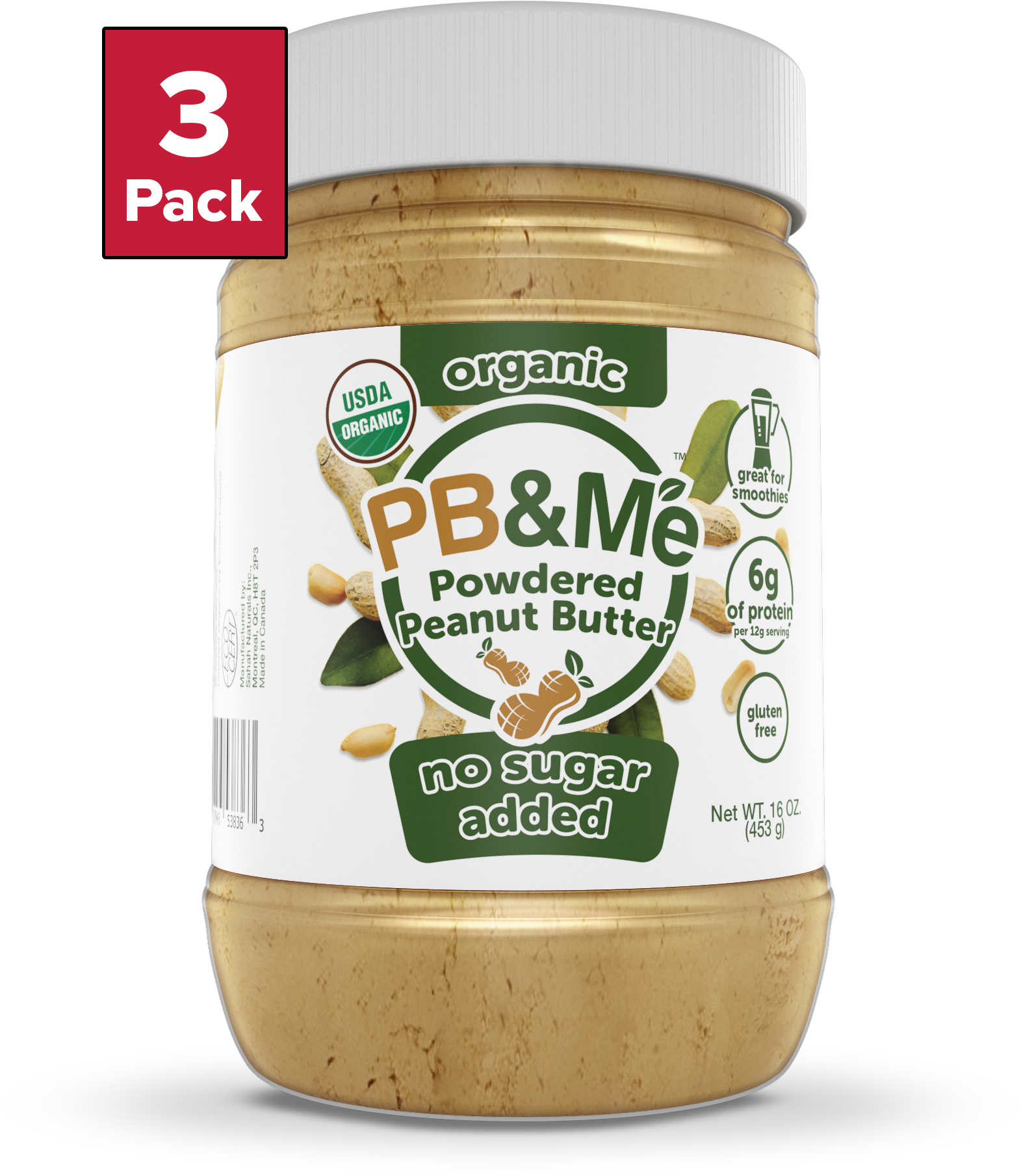 Organic Powdered Peanut Butter, No Sugar Added (16oz)