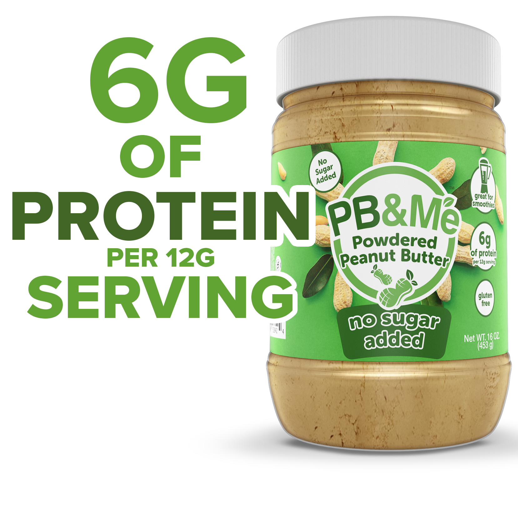 Powdered Peanut Butter, No Sugar Added, 16oz