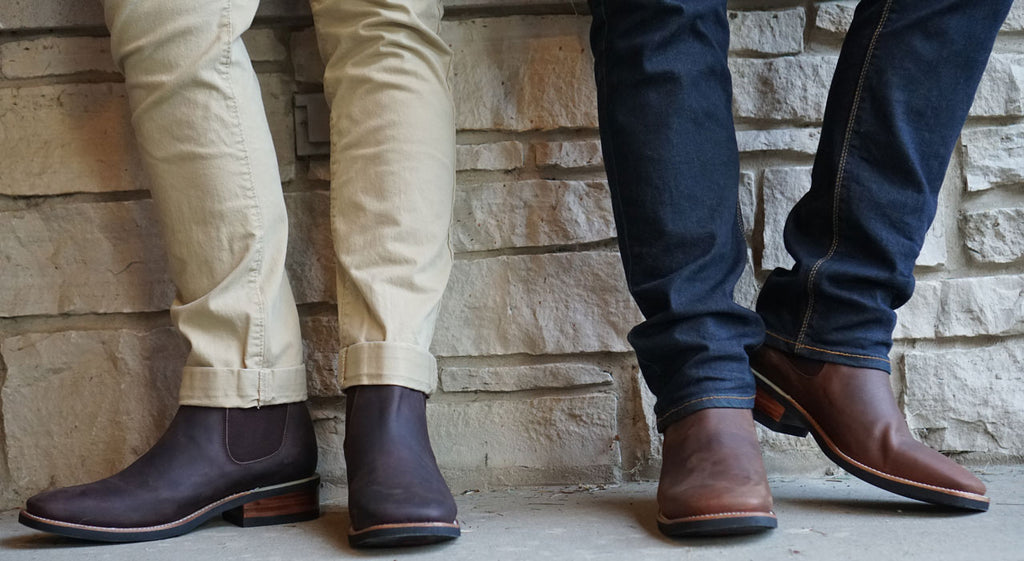 Men's Chelsea Short Ankle Boot H6002 Brown and Dark Brown. Broad Square Two 2 Guys wearing with jeans