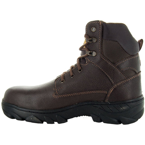 Workland Men's Brown above ankle Leather Oil Resistant Work Boots 73042 with Rubber Sole Side View