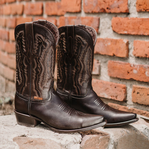 Men's Snip Toe Cowboy Boots Burnished Brown (H50030) - Soto Boots