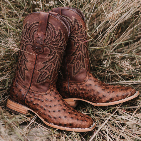 Soto Boots Mens Out of the Wild Cognac Ostrich Print Boots H50031 - Soto Boots