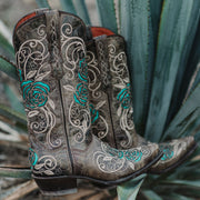 Turquoise Rose Inlayed Women's Cowgirl Boots (M50032) - Soto Boots