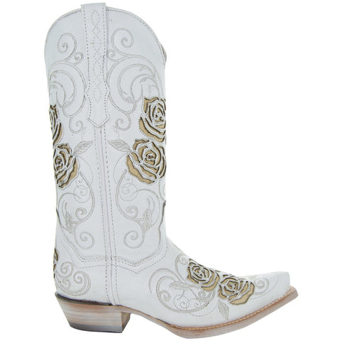 White Rose Inlayed Women's Cowgirl Boots (M50032) - Soto Boots