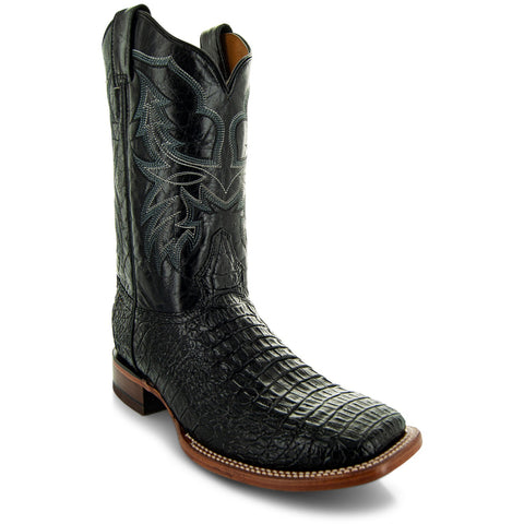 H4001 Mens Gator Print Square Toe Boots in Black Angled