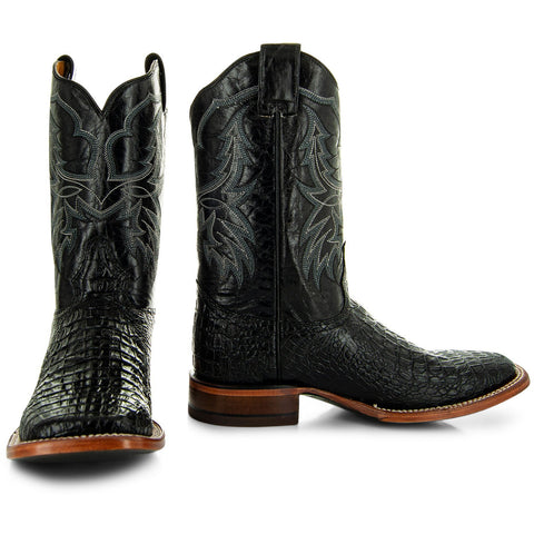 H4001 Mens Gator Print Square Toe Boots in Black  Main
